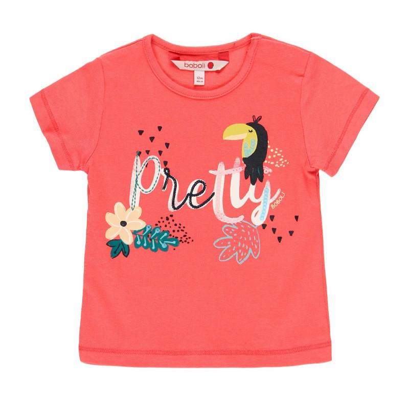 Βαμβακερό μπλουζάκι μωρού Boboli με τύπωμα, ροζ  112759