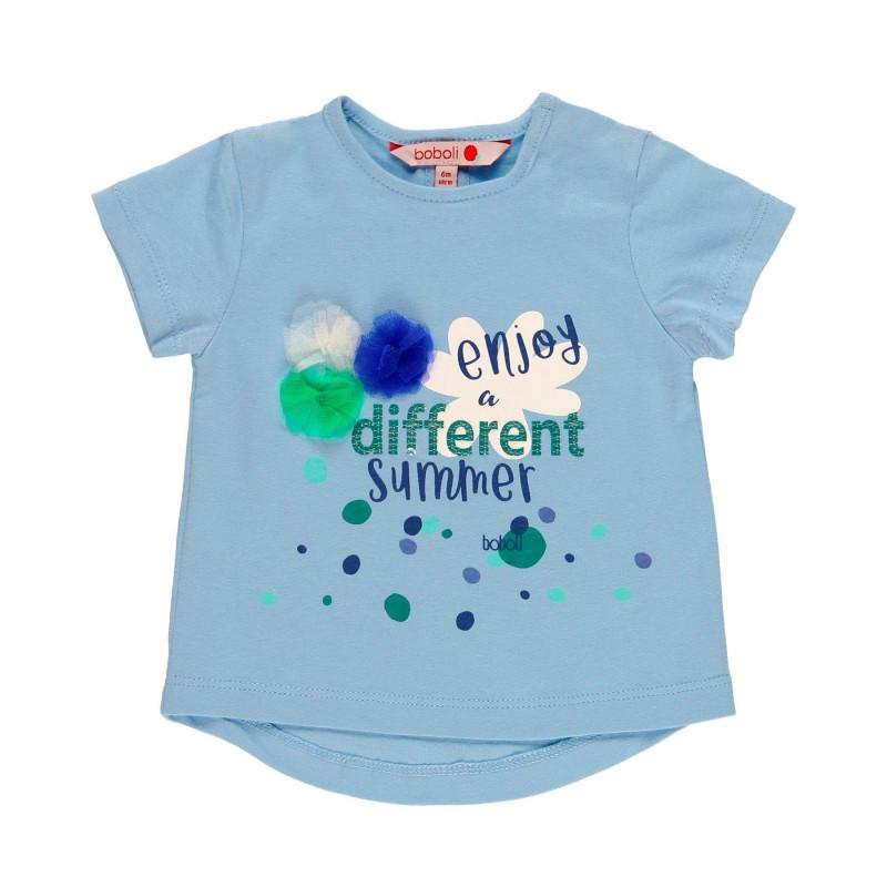 Μπλουζάκι βαμβακερό για κορίτσι Boboli με απλικέ, μπλε  112785