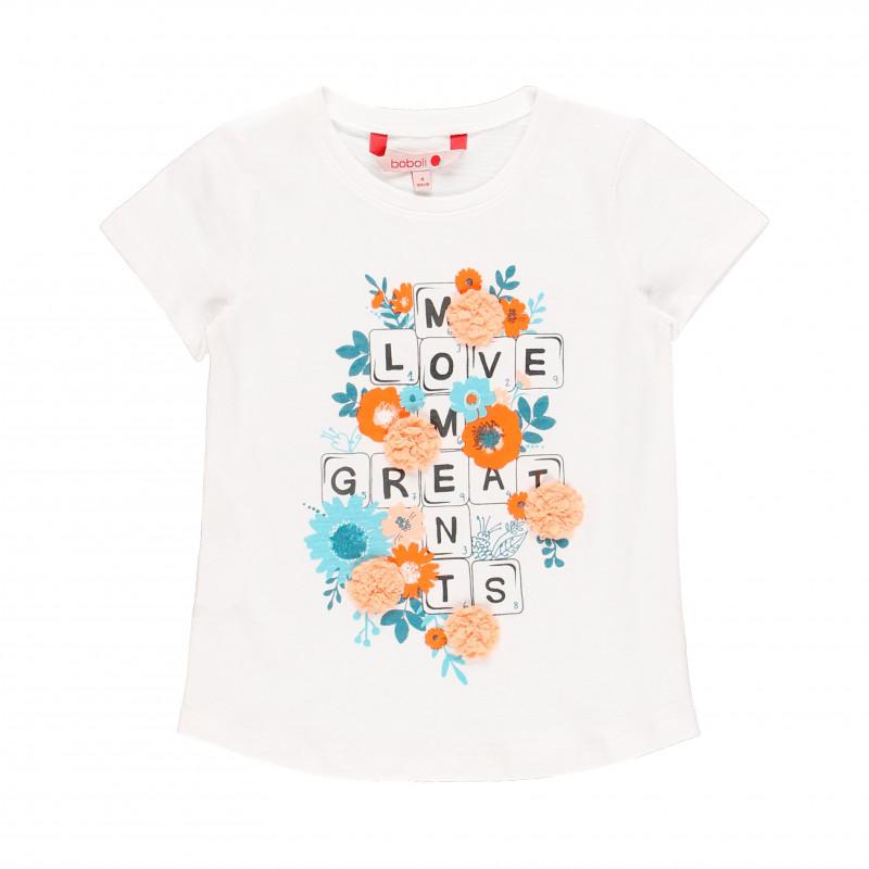 Βαμβακερό μπλουζάκι Boboli με λουλουδάτο χρώμα, λευκό  112867
