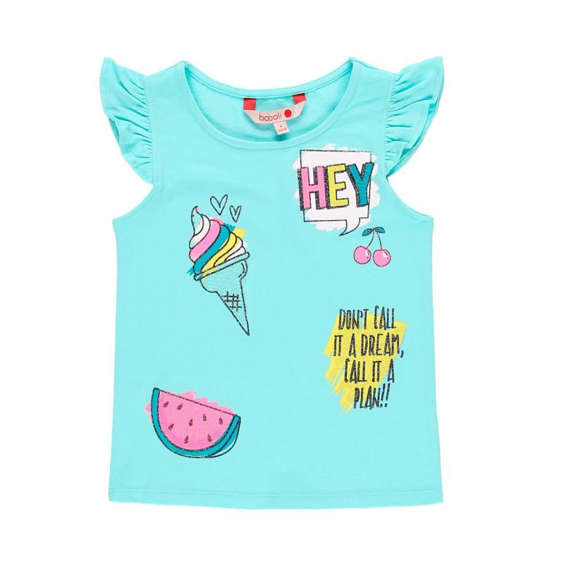 Μπλουζάκι κοριτσιού Boboli με ανασηκωμένα μανίκια, ανοιχτό μπλε  112890