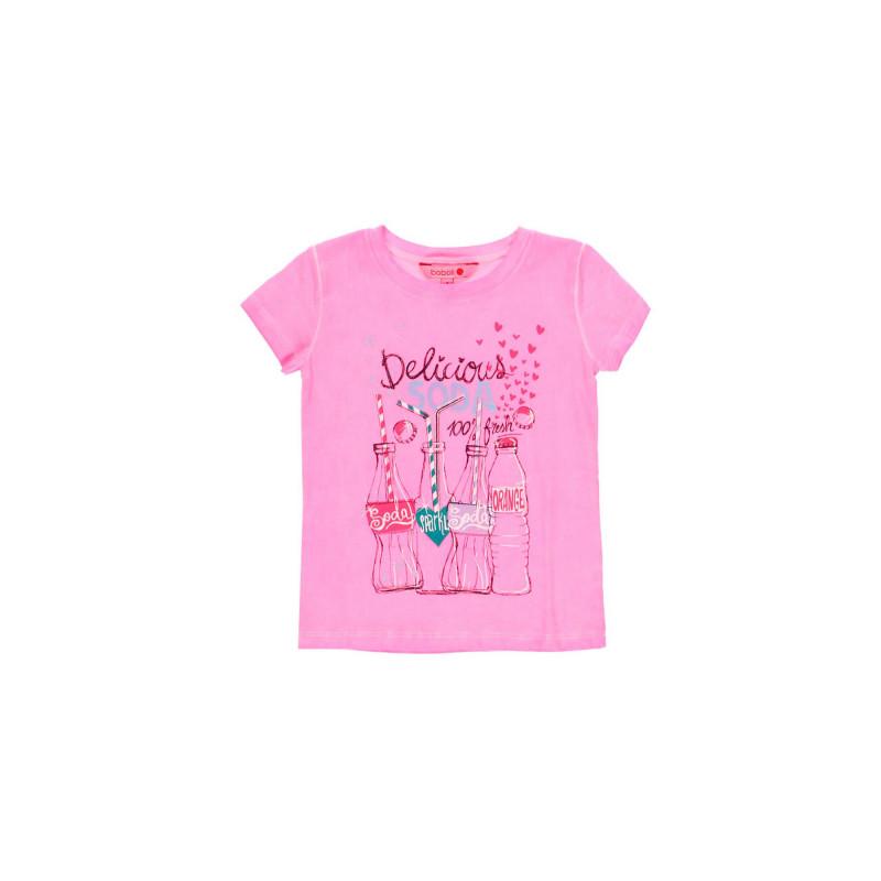 Τυπωμένο μπλουζάκι κοριτσιού Boboli, ροζ  112895