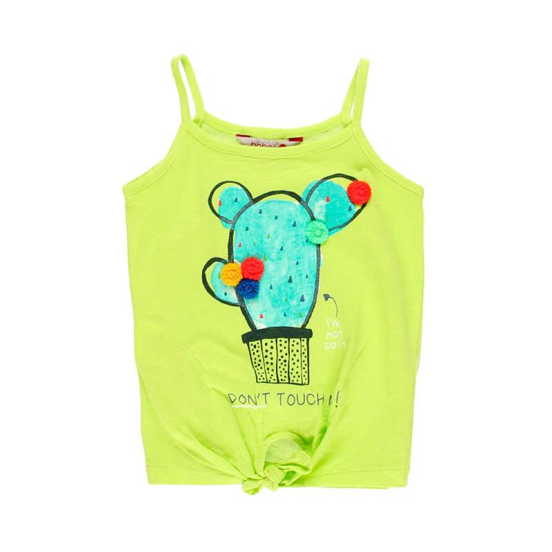 Βαμβακερή μπλούζα Boboli για κορίτσι με απλικέ, πράσινο  112916