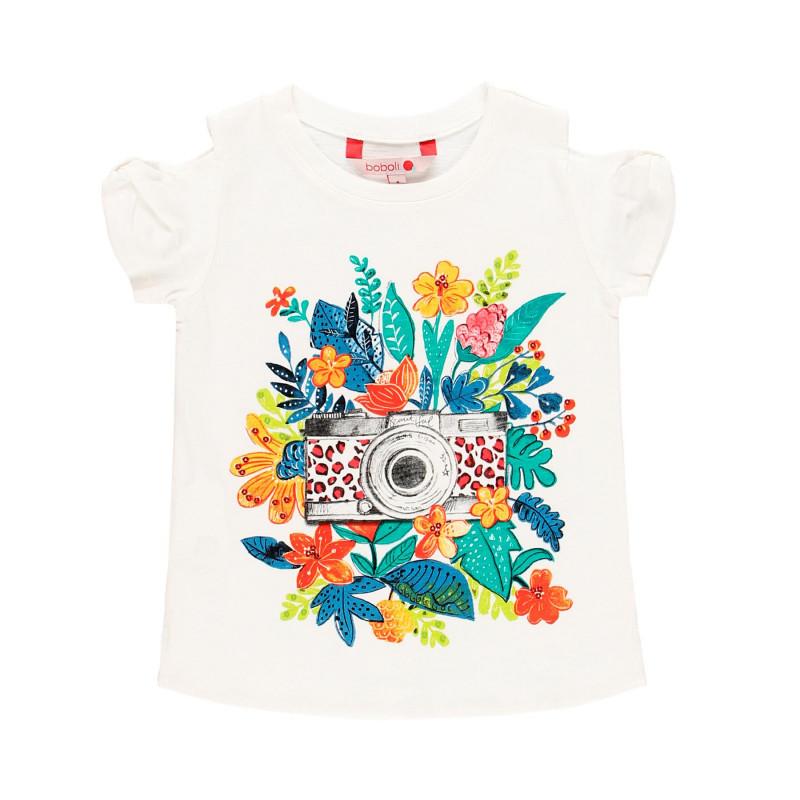 Μπλουζάκι Boboli, λευκό με λουλουδάτο σχέδιο  112925