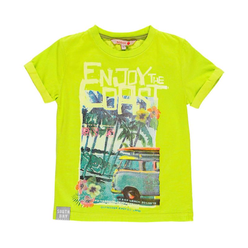 Βαμβακερό μπλουζάκι Boboli boy με τύπωμα σερφ, πράσινο  112973