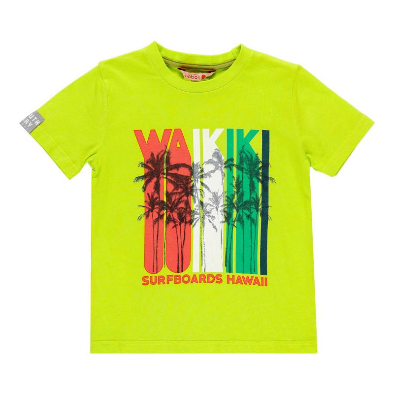 Βαμβακερό μπλουζάκι Boboli boy με τύπωμα, πράσινο  112983