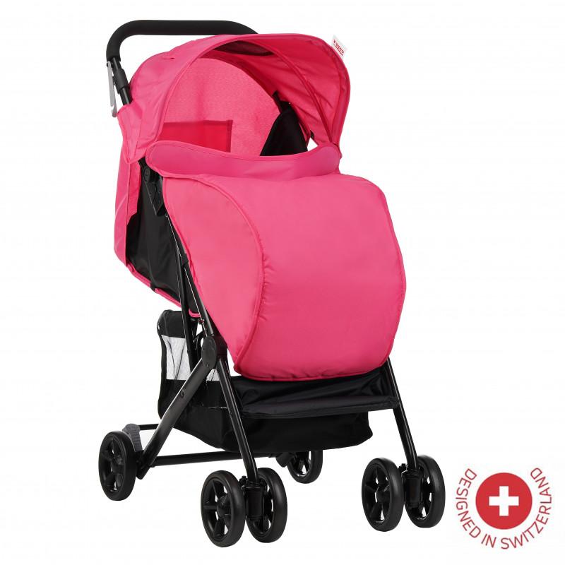 Zizito Baby Stroller - Συμπαγές, εύκολο να διπλωθεί με ροζ κάλυμμα ποδιών  113567