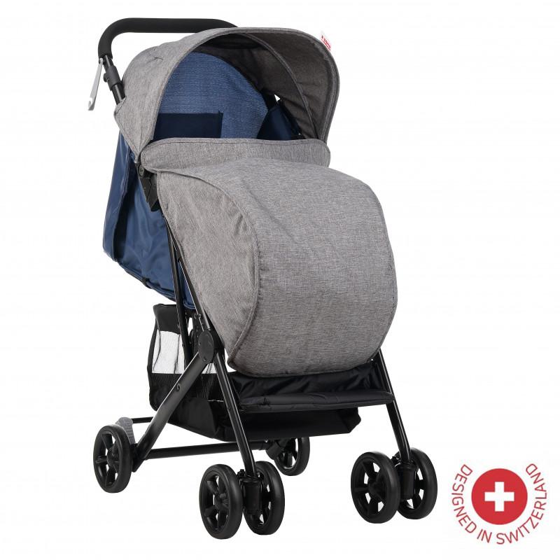Zizito Baby Stroller - Συμπαγές, εύκολα αναδιπλούμενο με κάλυμμα ποδιών, μπλε  113568