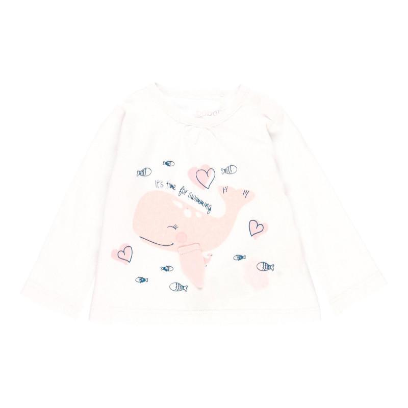 Βαμβακερή μπλούζα μωρού με τύπωμα, λευκή  113668