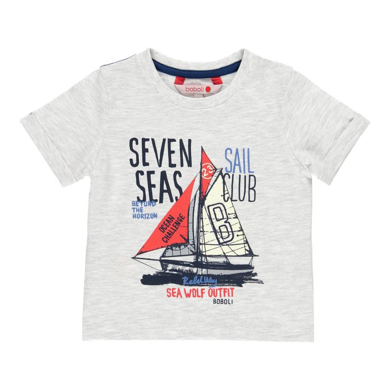 Μπλουζάκι βαμβακερό για αγόρια με τύπωμα, γκρι μελανζέ  113793