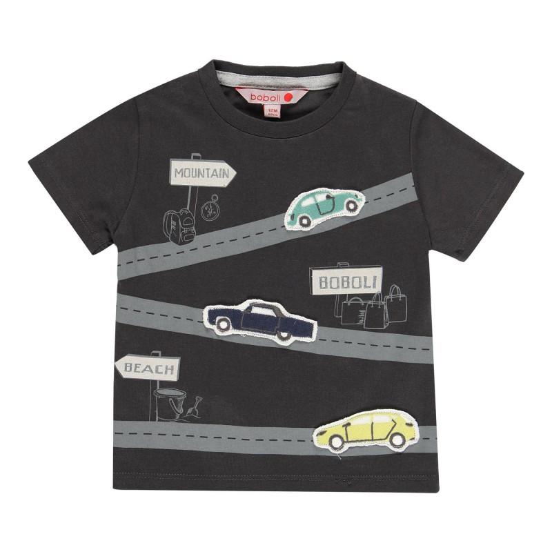Μπλουζάκι για αγόρια βαμβακερό με τύπωμα αυτοκινήτου, σκούρο γκρι  113812