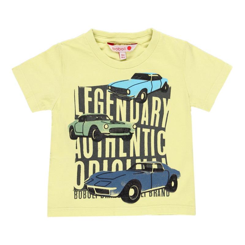 Μπλουζάκι για αγόρια βαμβακερό με τύπωμα αυτοκινήτου, κίτρινο  113818