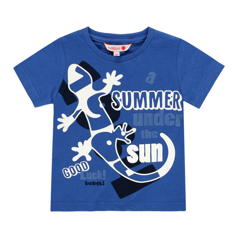 Μπλουζάκι για αγόρια από βαμβάκι με τύπωμα ιγκουάνα, μπλε  113840