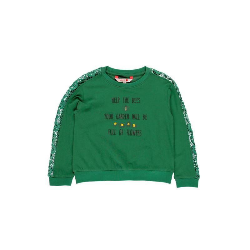 Μπλούζα για κορίτσια με ιδιαίτερα μανίκια, πράσινο  113858