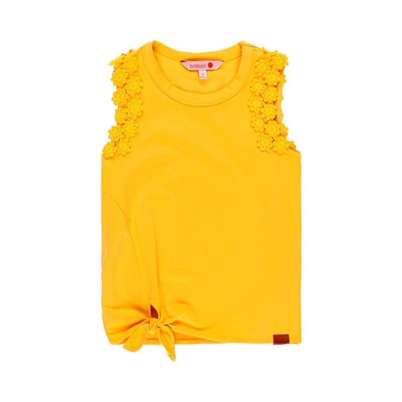 Μπλούζα για κορίτσια με λουλουδάτο Απλικέ, Κίτρινο  113862