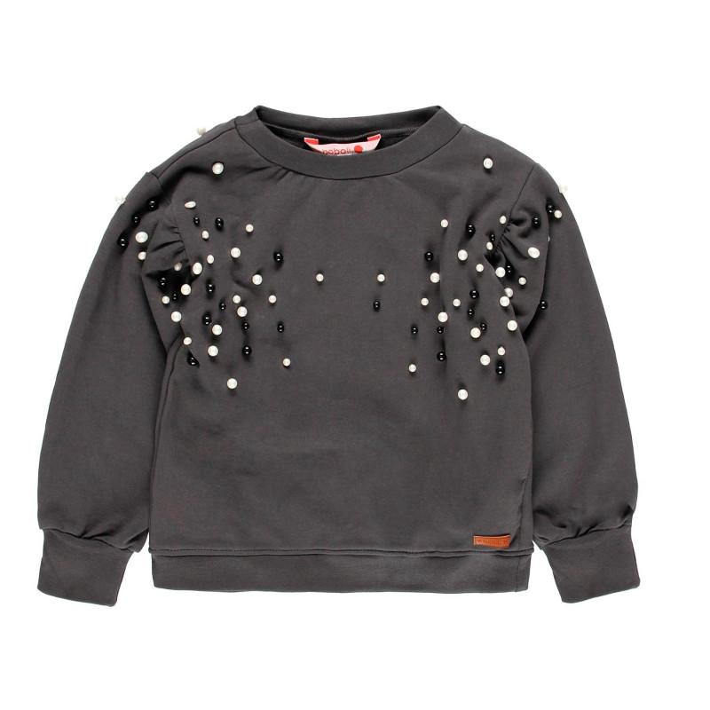Βαμβακερή μπλούζα με χάντρες για κορίτσια  113886