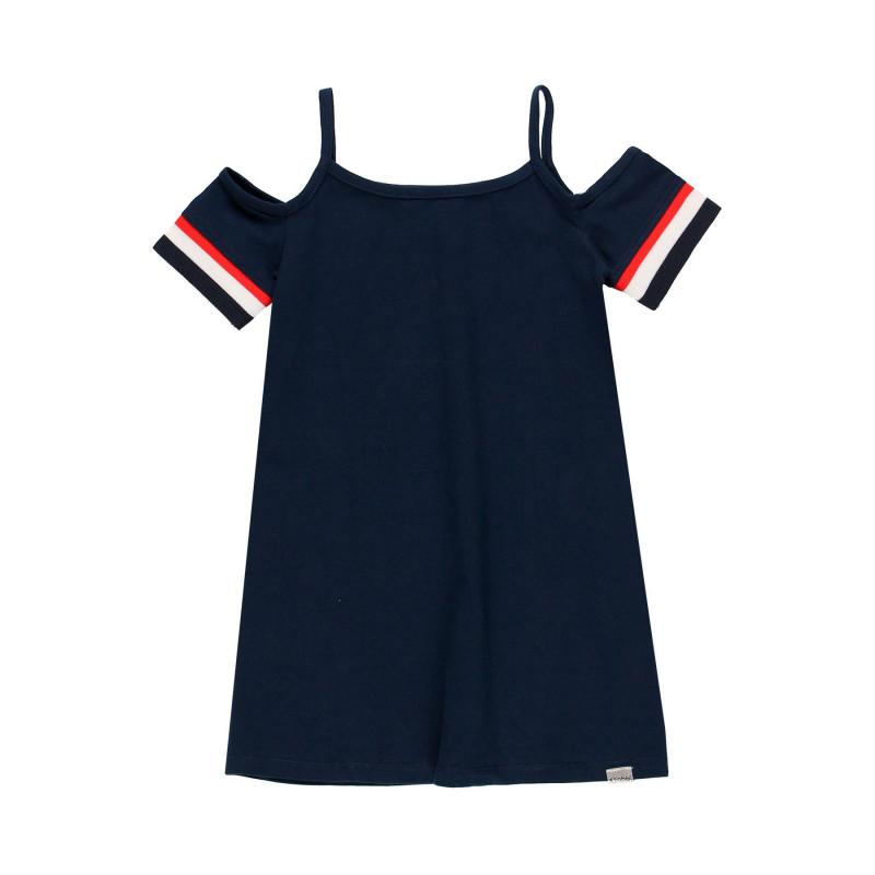 Φόρεμα για κορίτσια με κομμένους ώμους, σκούρο μπλε  113894