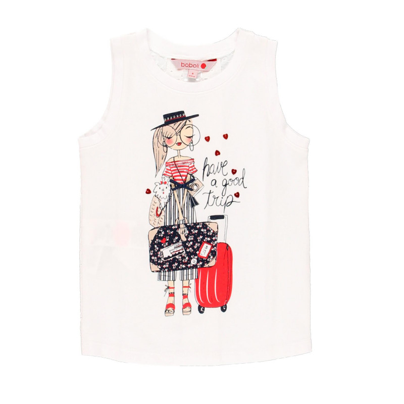 Βαμβακερή μπλούζα με δαντέλα στην πλάτη για κορίτσια, λευκό  113898