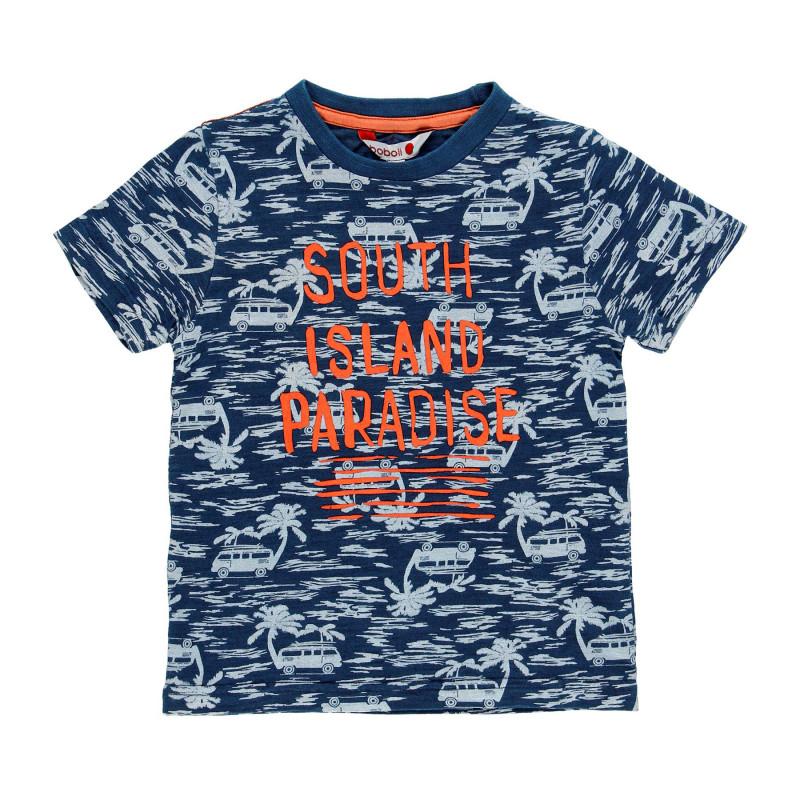 Μπλουζάκι για αγόρια από βαμβάκι με λουλουδάτη στάμπα, μπλε  113977