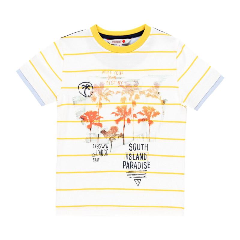 Μπλουζάκι ριγέ για αγόρια με στάμπα, λευκό  113980