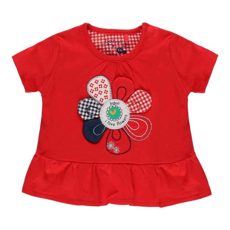 Βαμβακερό μπλουζάκι με άνοιγμα στο κάτω μέρος για κορίτσι, κόκκινο  114011