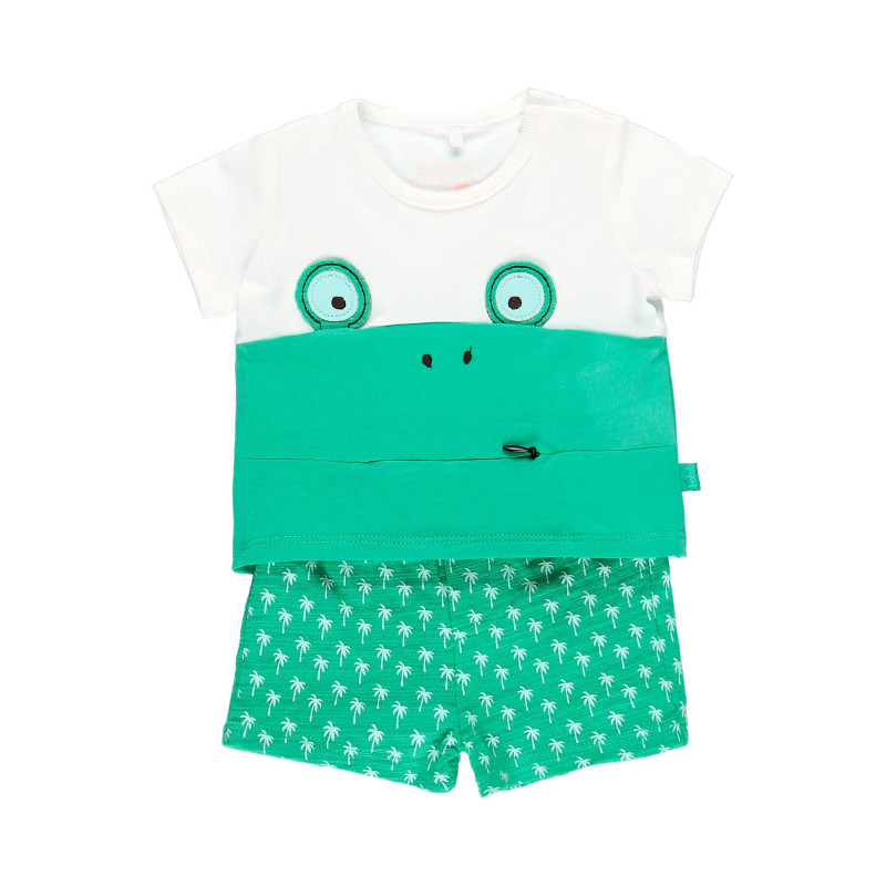 Μπλουζάκι για αγόρια βαμβακερό με πράσινο σορτς  114018