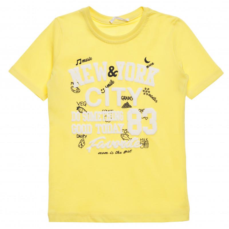 Μπλουζάκι βαμβακερό με στάμπα για αγόρι, κίτρινο  114391