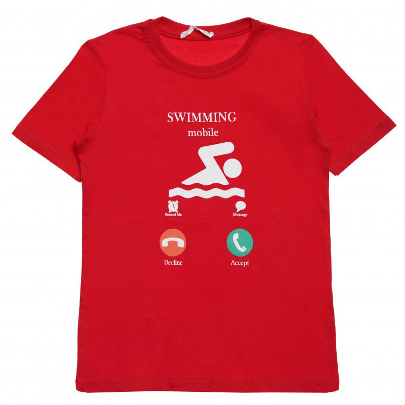 Βαμβακερό μπλουζάκι για αγόρι με διασκεδαστική στάμπα, κόκκινο  114403