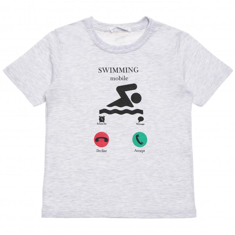 Βαμβακερό μπλουζάκι για αγόρι με διασκεδαστική στάμπα, γκρι  114407