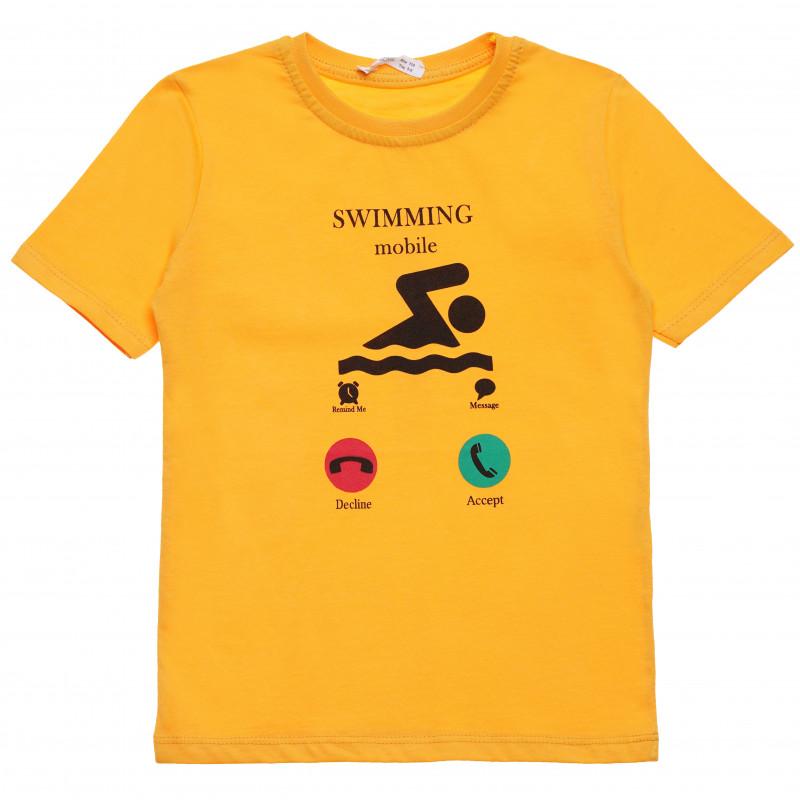 Βαμβακερό μπλουζάκι για αγόρι με διασκεδαστική στάμπα, κίτρινο  114411