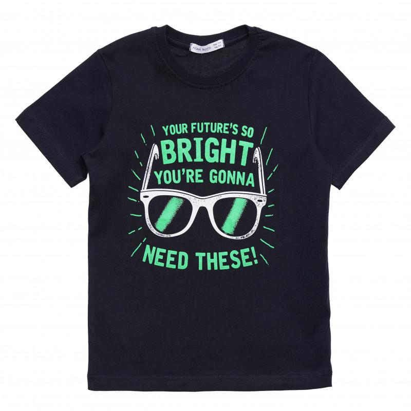 """Βαμβακερό μπλουζάκι για αγόρι με στάμπα """"Bright"""", μαύρο  114419"""