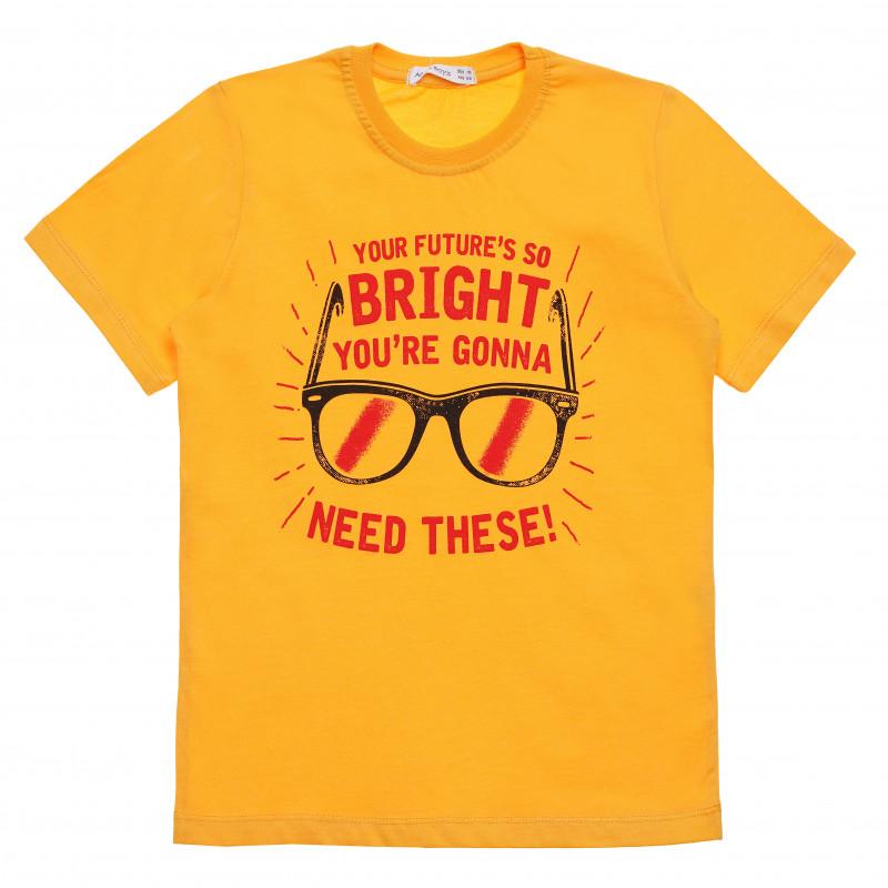 """Βαμβακερό μπλουζάκι για αγόρι με στάμπα """"Bright"""", πορτοκαλί  114423"""