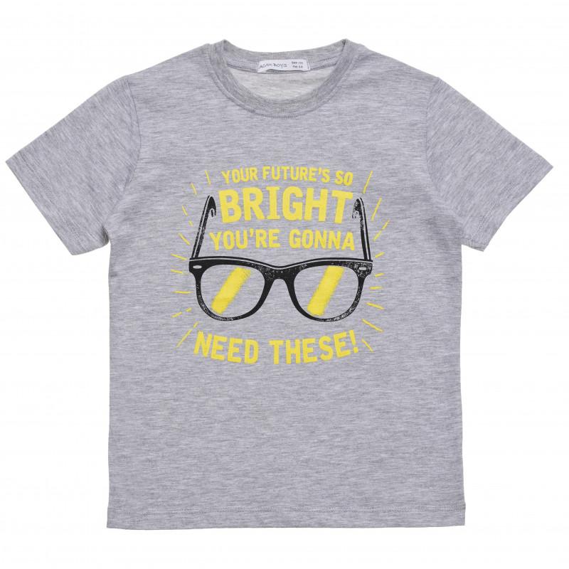 """Βαμβακερό μπλουζάκι για αγόρι με στάμπα """"Bright"""", γκρι  114427"""