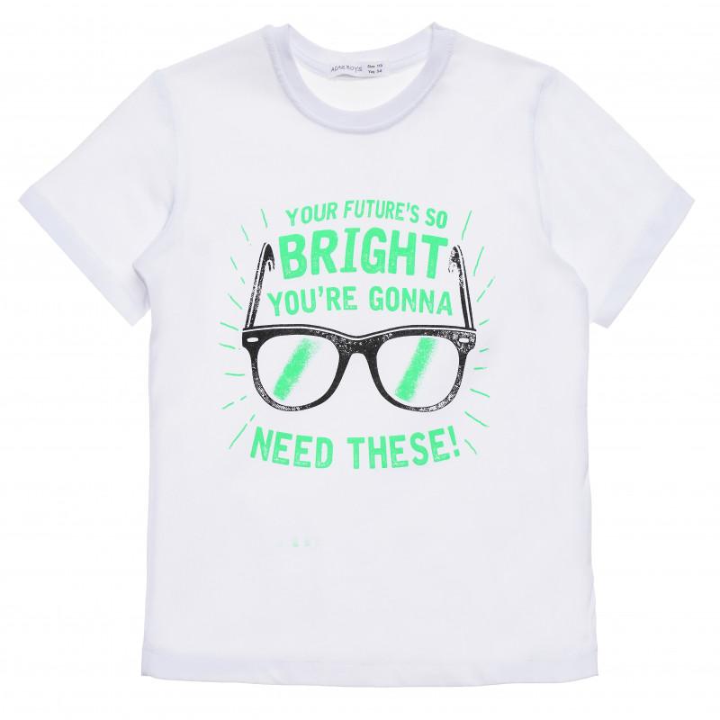 Βαμβακερό μπλουζάκι για αγόρι με στάμπα Bright, λευκό  114435