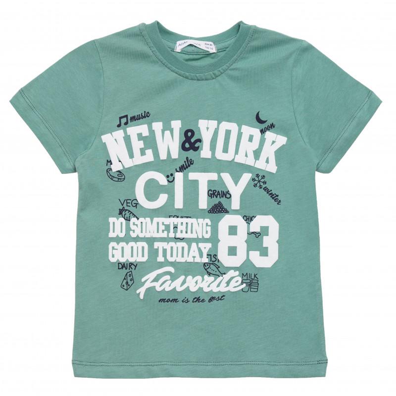 Βαμβακερό μπλουζάκι για αγόρι με στάμπα NYC, πράσινο  114447