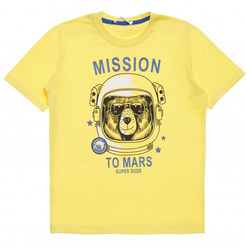 """Μπλουζάκι για αγόρι με την ένδειξη """"Mission to Mars"""", κίτρινο  114511"""