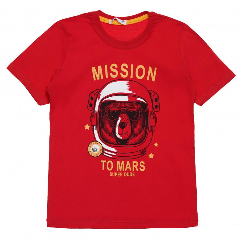 """Μπλουζάκι του αγοριού με την ένδειξη """"Mission to Mars"""", κόκκινο  114515"""