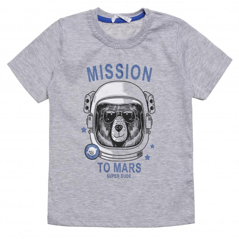 """Μπλουζάκι αγοριού με την ένδειξη """"Mission to Mars"""", γκρι  114519"""