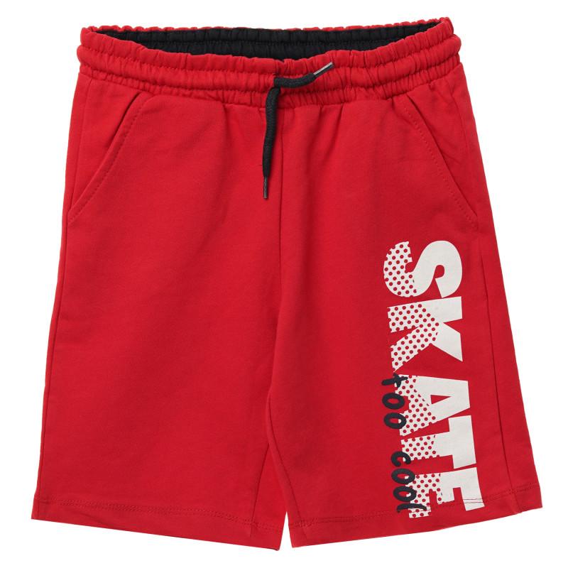 Βαμβακερά σορτς για αγόρια με στάμπα Skate, κόκκινο  114531