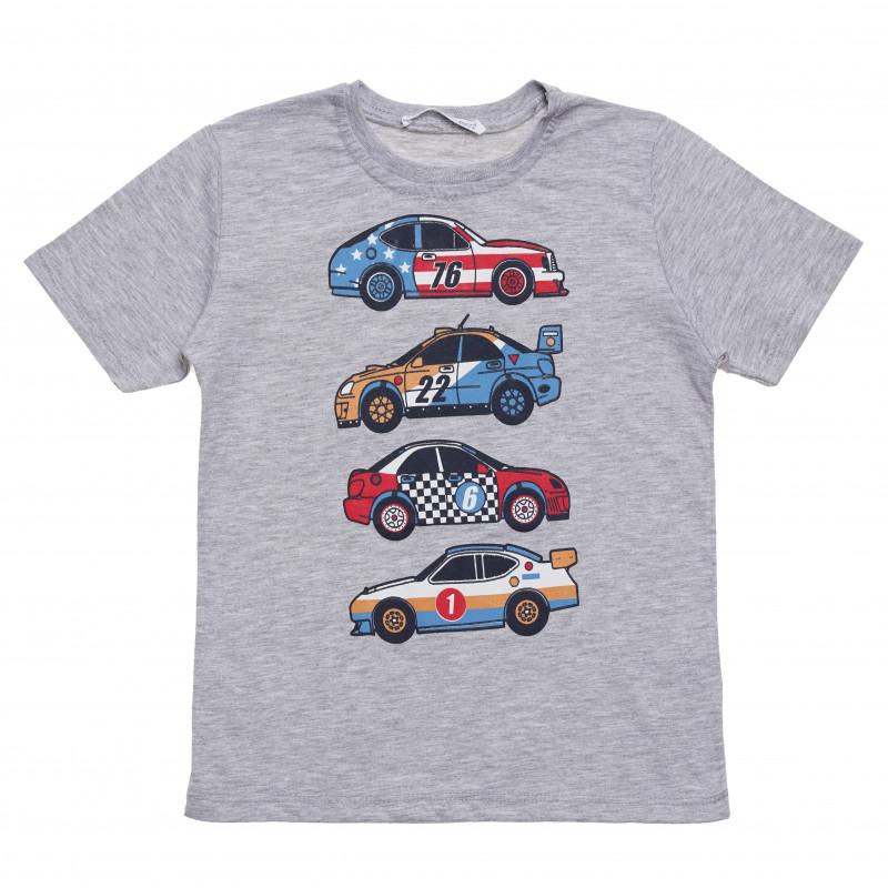 Μπλουζάκι βαμβακερό για αγόρια με στάμπα  αυτοκινήτου, γκρι  114555
