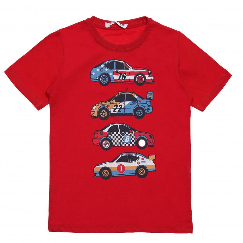 Μπλουζάκι αγοριού βαμβακερό με στάμπα αυτοκινήτου, κόκκινο  114559