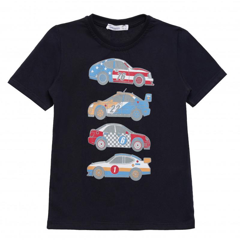 Μπλουζάκι αγοριού βαμβακερό με στάμπα αυτοκινήτου, μαύρο  114563