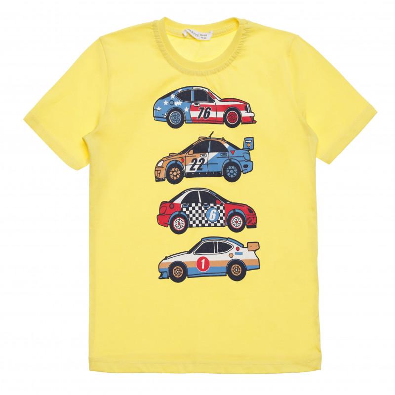 Μπλουζάκι αγοριού βαμβακερό με στάμπα αυτοκινήτου, κίτρινο  114567