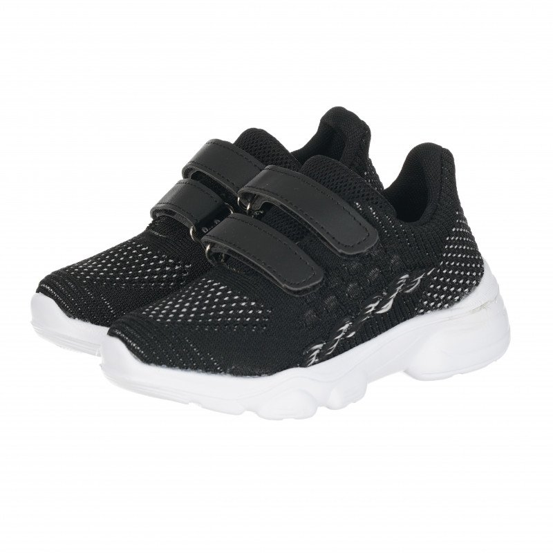 Αθλητικά παπούτσια με λευκή σόλα και velcro για αγόρια, μαύρο  114659
