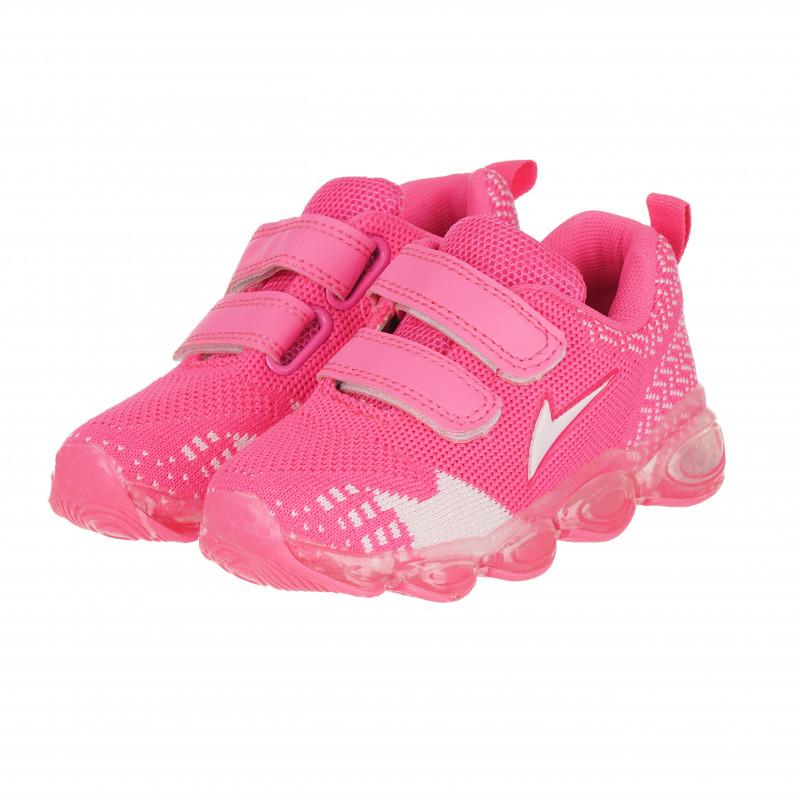 Πάνινα παπούτσια Star girl με velcro, ροζ και λευκό  114668