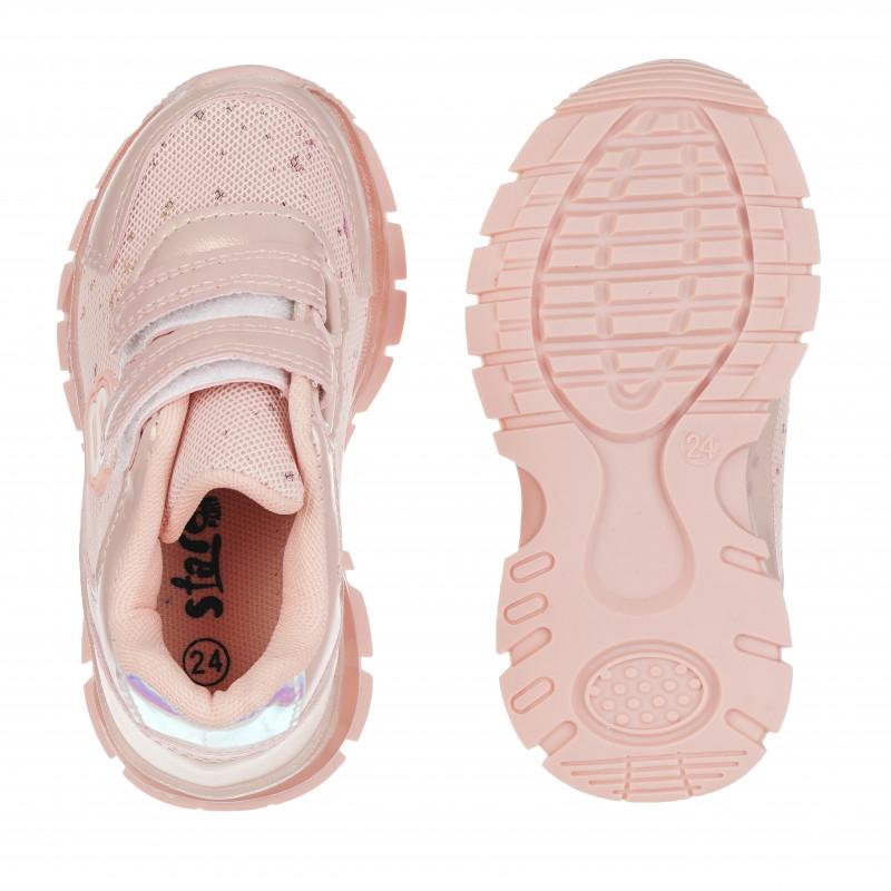 Πάνινα παπούτσια Star girl με velcro, ροζ  114677