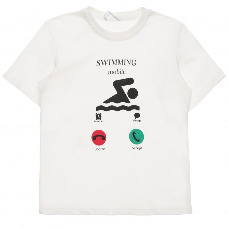 Βαμβακερό μπλουζάκι για αγόρι με διασκεδαστική στάμπα, λευκό  114789