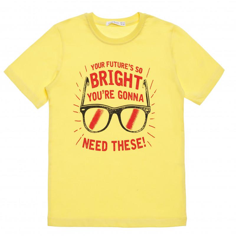 """Βαμβακερό μπλουζάκι για αγόρι με στάμπα """"Bright"""", κίτρινο  114793"""
