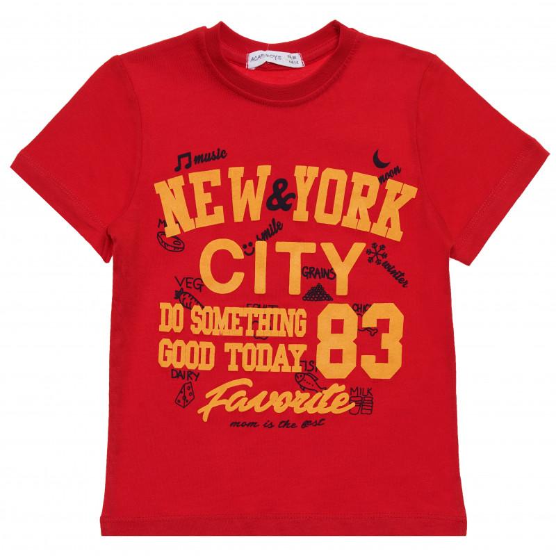 Βαμβακερό μπλουζάκι για αγόρι με στάμπα NYC, κόκκινο  114801