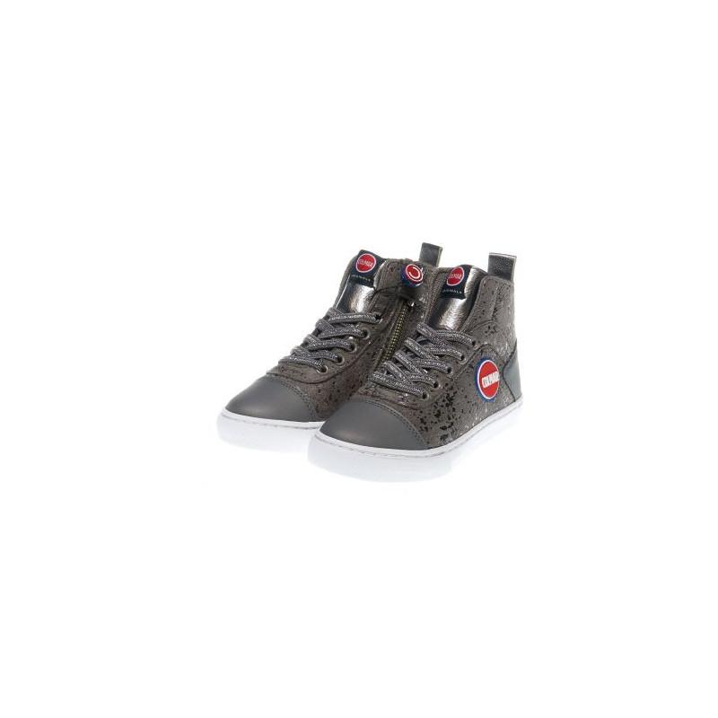 Γκρι αθλητικά παπούτσια για κορίτσια με ασημί λεπτομέρειες  12379