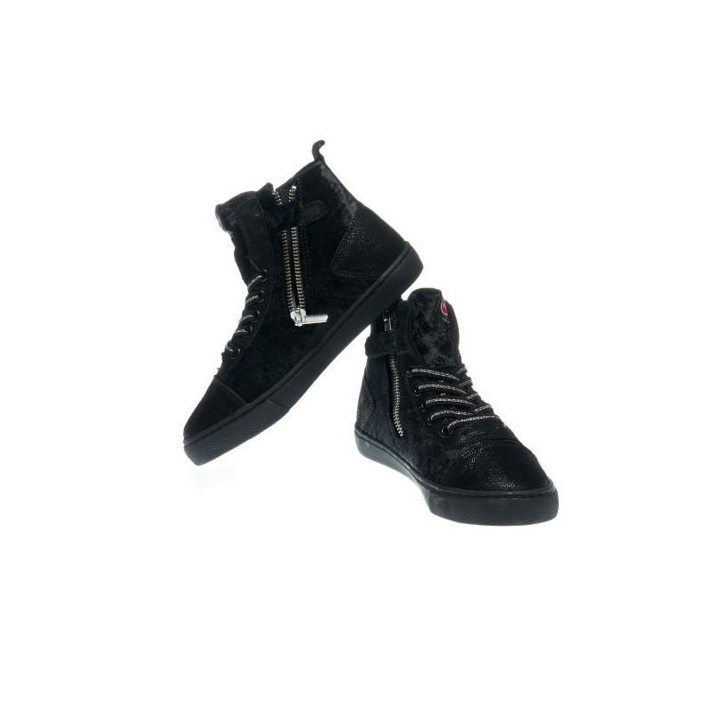 Αθλητικά παπούτσια για κορίτσια σε μαύρο χρώμα με φερμουάρ και κορδόνια  12383